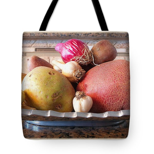 Potatoes, Onion And Garlic Tote Bag by Scott Kingery