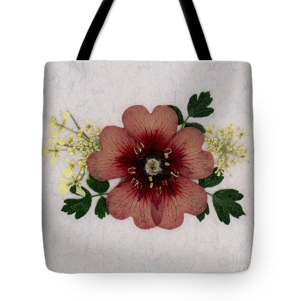 Potentilla And Queen-ann's-lace Pressed Flower Arrangement Tote Bag