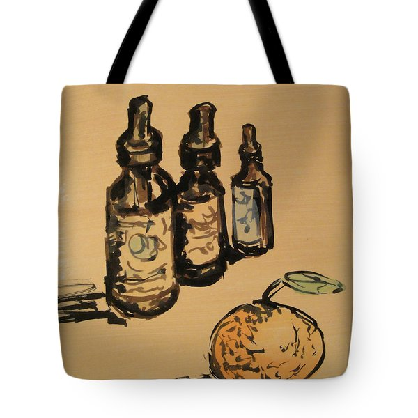 Tote Bag featuring the painting Potions by Maria Langgle