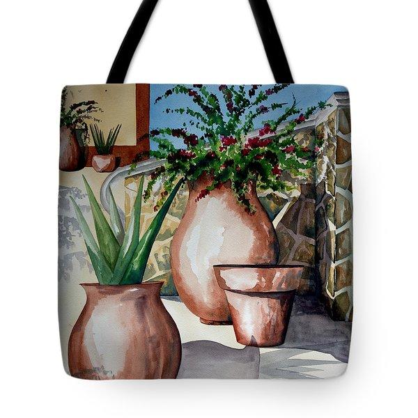 Pots And Bougainvillea Tote Bag
