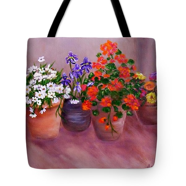 Pots Of Flowers Tote Bag