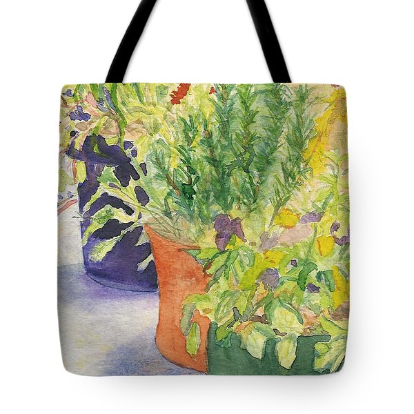 Tote Bag featuring the painting Potted Beauties  by Vicki  Housel