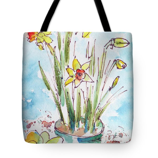 Potted Daffodils Tote Bag by Pat Katz