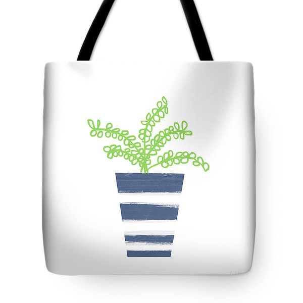 Tote Bag featuring the mixed media Potted Plant 1- Art By Linda Woods by Linda Woods