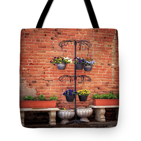 Tote Bag featuring the photograph Potted Plants And A Brick Wall by James Eddy