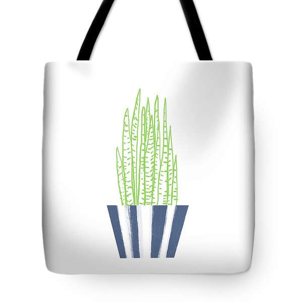 Tote Bag featuring the mixed media Potted Succulent 3- Art By Linda Woods by Linda Woods