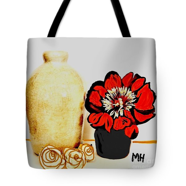 Tote Bag featuring the painting Pottery Peony Roses by Marsha Heiken