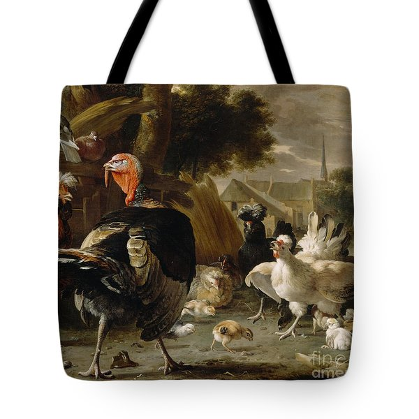 Poultry Yard Tote Bag by Melchior de Hondecoeter