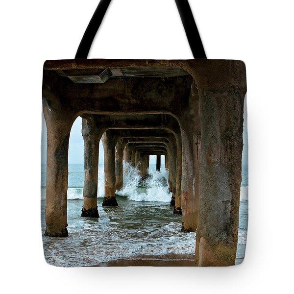 Pounded Pier Tote Bag by Lorraine Devon Wilke