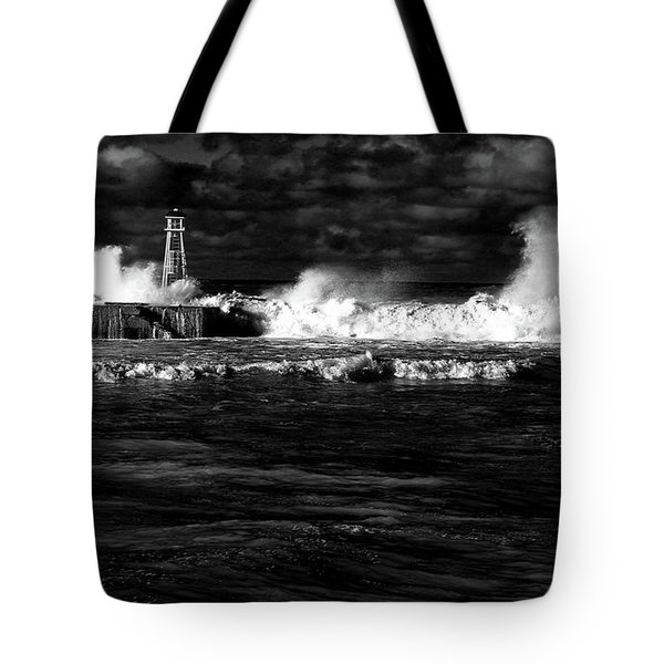 Tote Bag featuring the photograph Pounding The Breakwater by Nareeta Martin