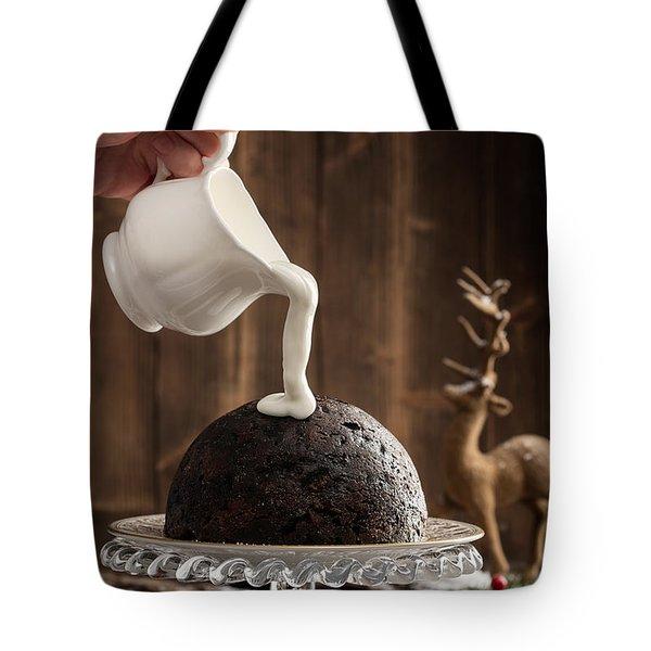 Pouring Cream Over Christmas Pudding Tote Bag