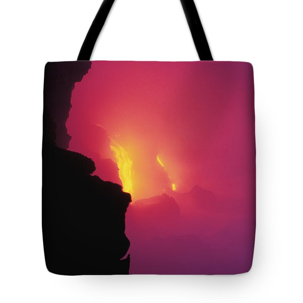 Pouring Lava Tote Bag by William Waterfall - Printscapes