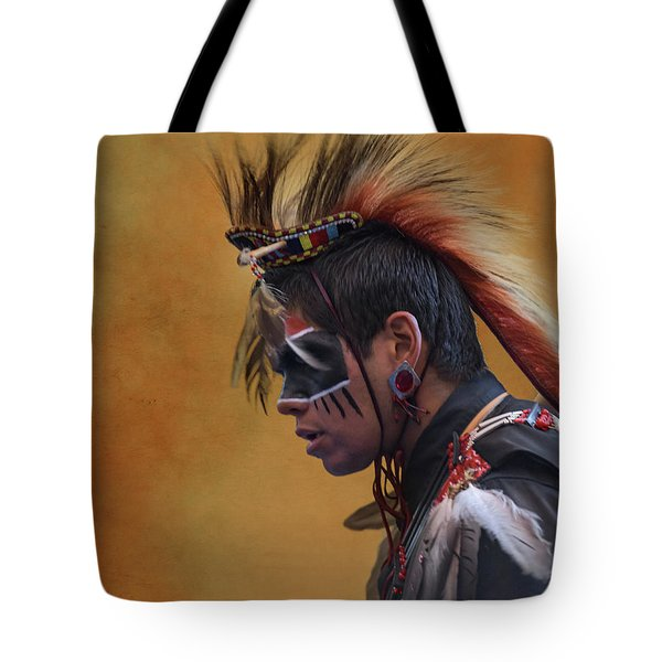 Tote Bag featuring the mixed media Pow Wow by Jim  Hatch