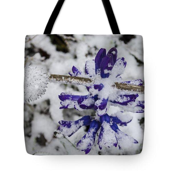 Powder-covered Hyacinth Tote Bag by Deborah Smolinske
