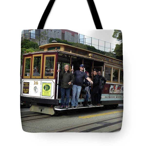 Tote Bag featuring the photograph Powell And Market Street Trolley by Steven Spak