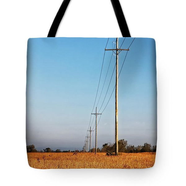 Tote Bag featuring the photograph Power Lines At Sunrise by Lars Lentz