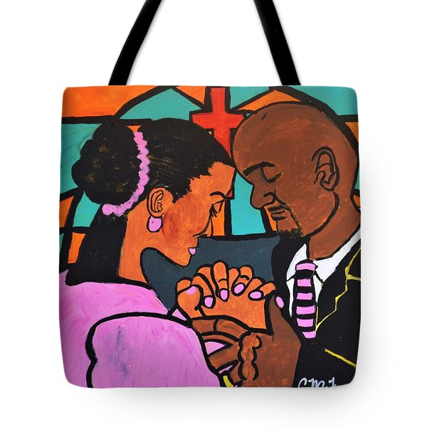 Tote Bag featuring the painting Power Of Prayer by Christopher Farris
