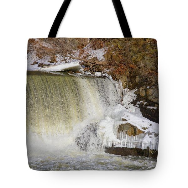Power Station Falls On Black River Three Tote Bag