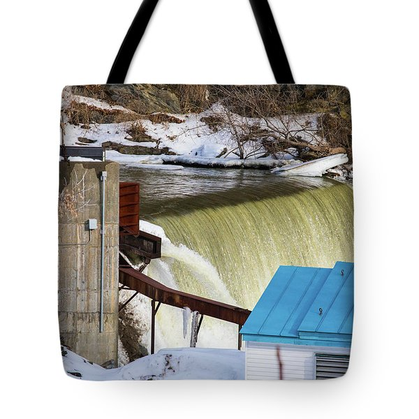 Power Station Falls On Black River Two Tote Bag