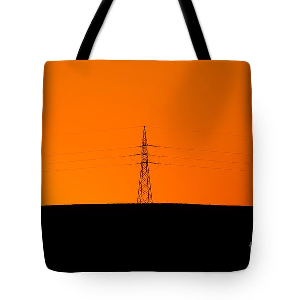 Powerline Sunset Silhouette Tote Bag