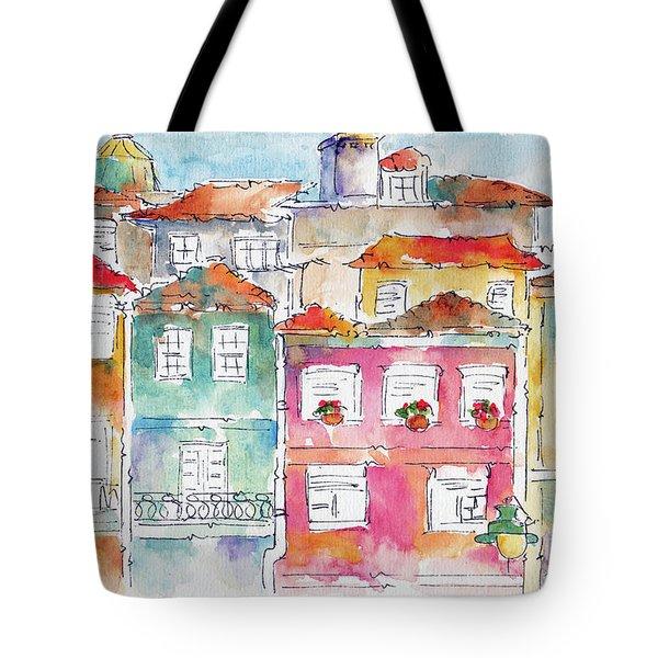 Tote Bag featuring the painting Praca Da Ribeira Porto by Pat Katz