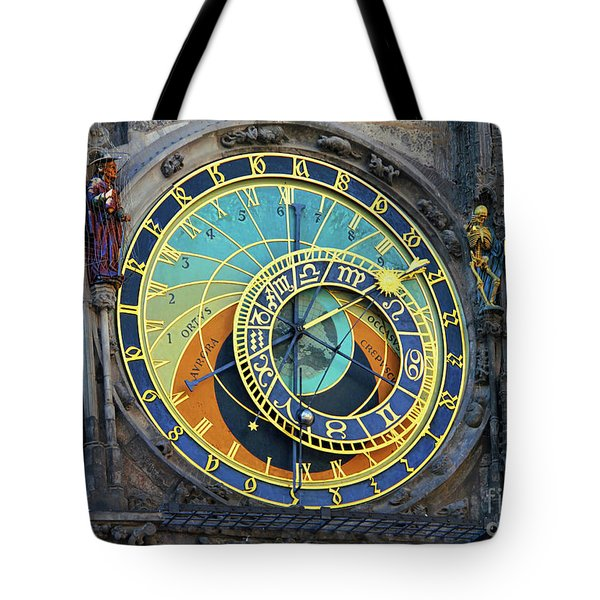 Prague Astronomical Clock Tote Bag by Mariola Bitner