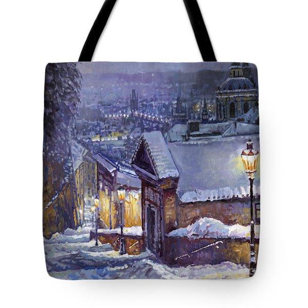 Prague Castle Steps Winter   Tote Bag by Yuriy Shevchuk