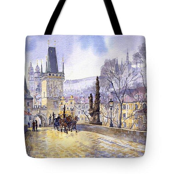 Prague Charles Bridge Mala Strana  Tote Bag by Yuriy  Shevchuk