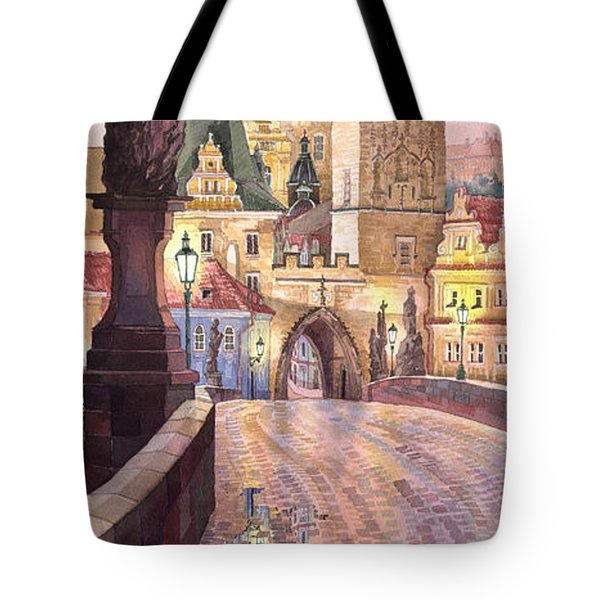 Prague Charles Bridge Night Light 1 Tote Bag by Yuriy  Shevchuk