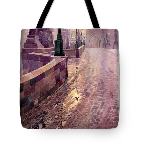 Prague Charles Bridge Night Light Tote Bag by Yuriy  Shevchuk