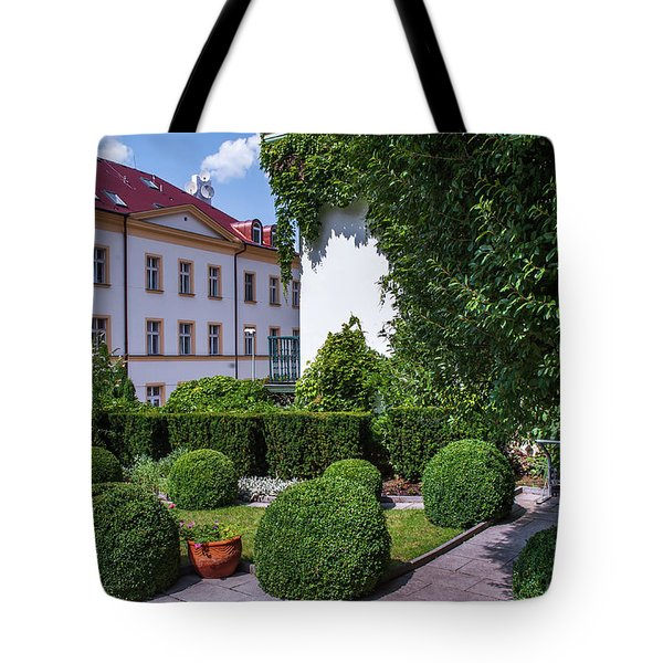 Tote Bag featuring the photograph Prague Courtyards. Regular Style Garden by Jenny Rainbow