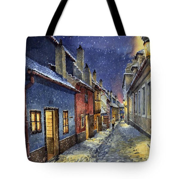 Prague Golden Line Winter Tote Bag by Yuriy  Shevchuk