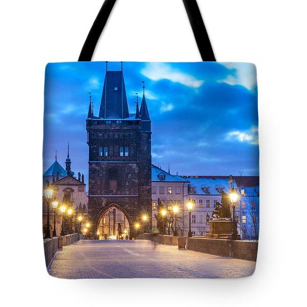 Prague In Blue Tote Bag by Martin Capek