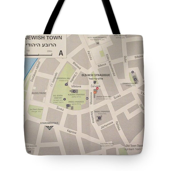 Prague Jewish Town Map Tote Bag