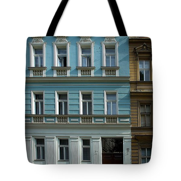 Tote Bag featuring the photograph Prague Man In Window by Steven Richman