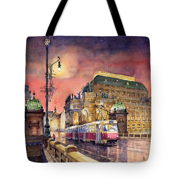 Prague  Night Tram National Theatre Tote Bag