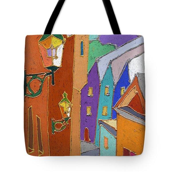 Prague Old Steps Winter Tote Bag by Yuriy  Shevchuk
