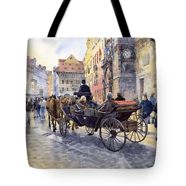 Prague Old Town Hall And Astronomical Clock Tote Bag by Yuriy  Shevchuk