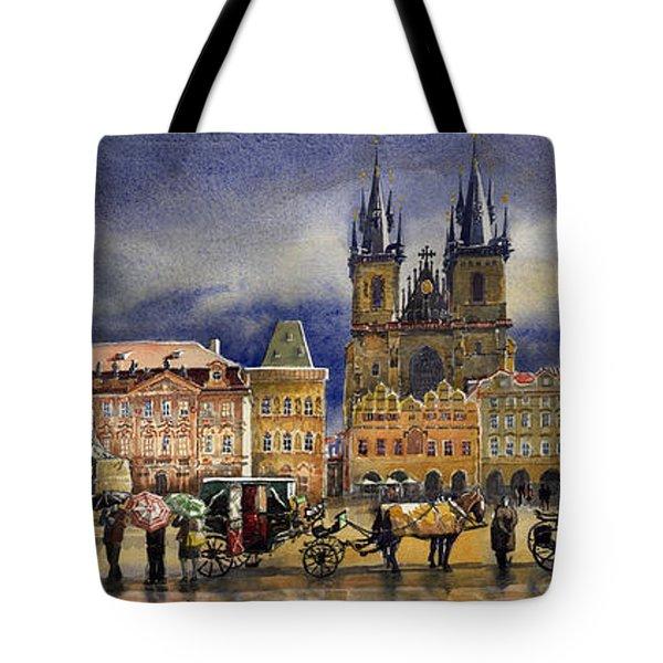 Prague Old Town Squere After Rain Tote Bag by Yuriy  Shevchuk