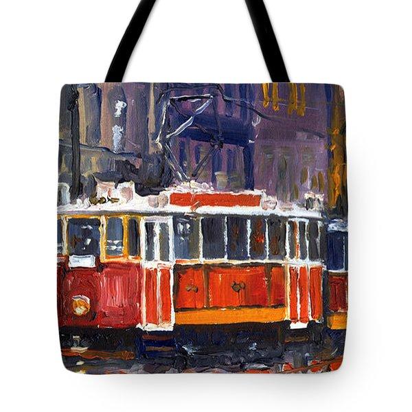 Prague Old Tram 09 Tote Bag