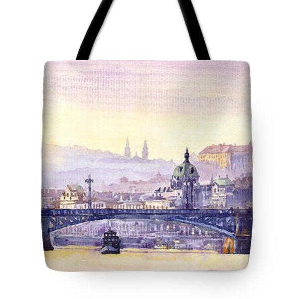 Prague Panorama Chehuv Bridge Tote Bag by Yuriy  Shevchuk