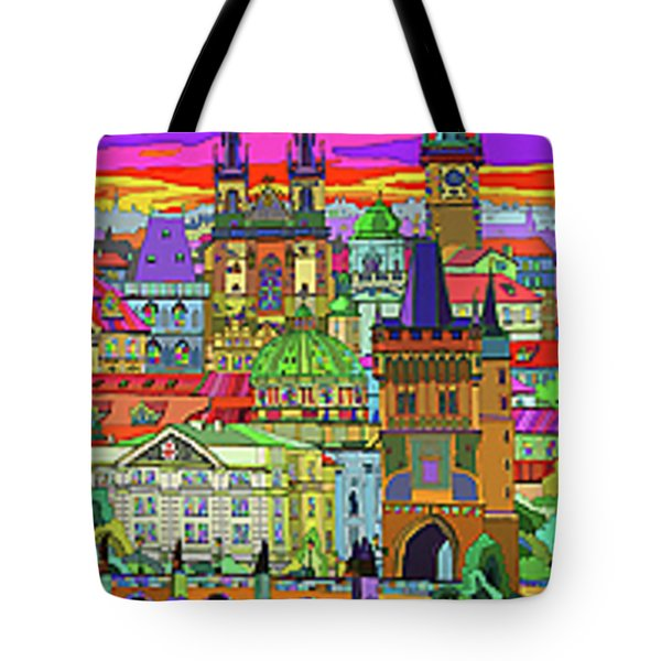 Prague Panorama Old Town Tote Bag