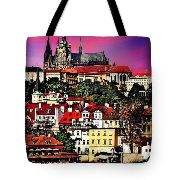 River Front Dining In Prague  Tote Bag