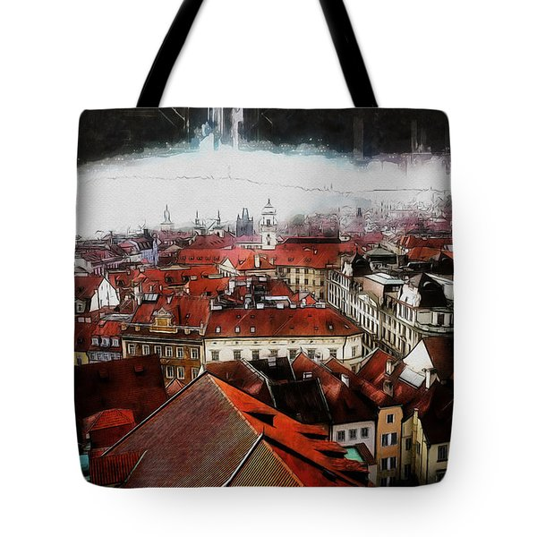 Tote Bag featuring the painting Prague Skyline by Kai Saarto