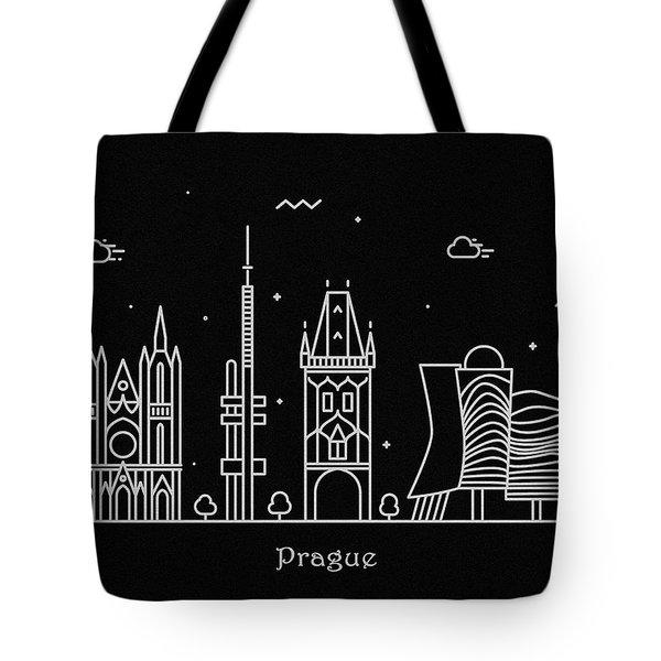 Prague Skyline Travel Poster Tote Bag
