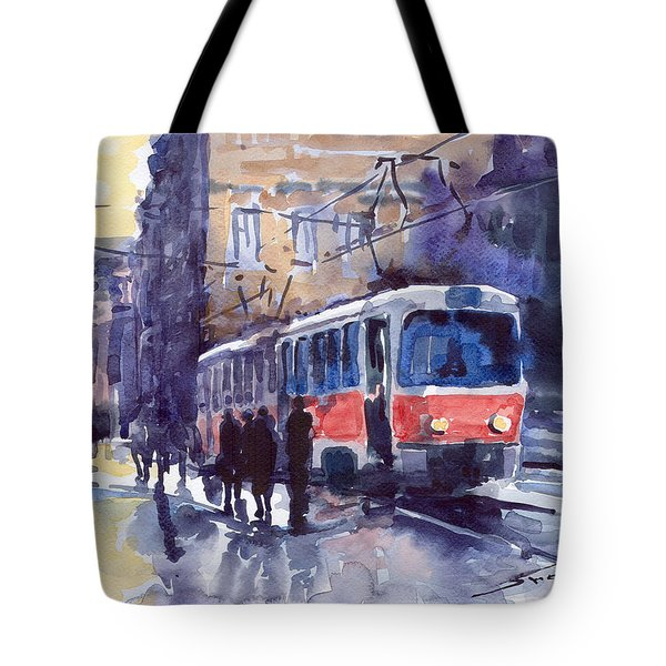 Prague Tram 02 Tote Bag by Yuriy  Shevchuk