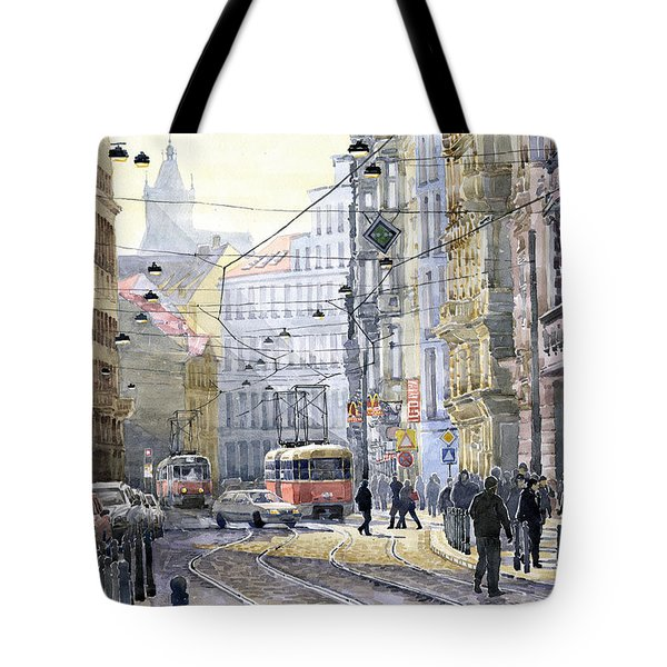 Prague Vodickova Str Tote Bag by Yuriy  Shevchuk