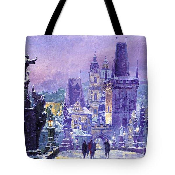 Prague Winter Charles Bridge Tote Bag by Yuriy Shevchuk