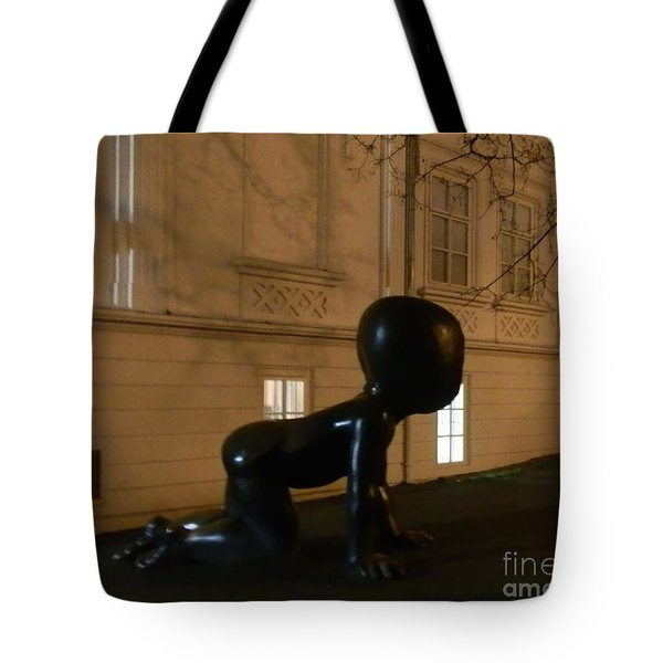 Prague's Faceless Baby Statue Tote Bag