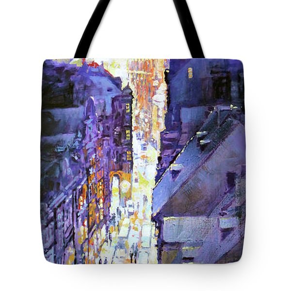 Praha Mostecka Str. Winter Evening Tote Bag by Yuriy Shevchuk